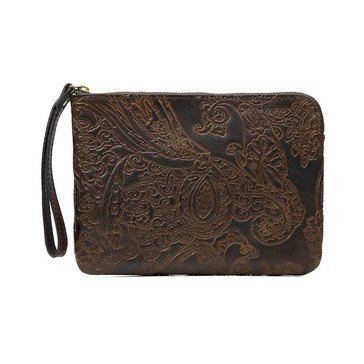 Patricia Nash Cassini Wristlet Burnished Tooled Dark Brown