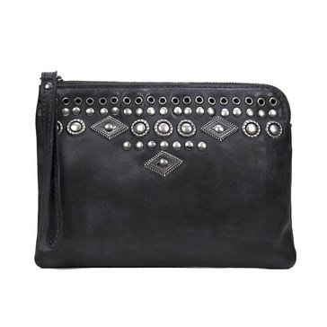 Patricia Nash Cassini Wristlet Burnished Boho Studded Black