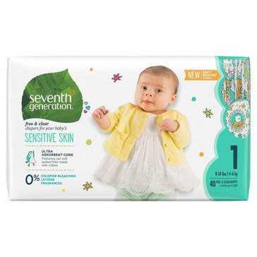 Seventh Generation Jumbo Diapers - Size 1, 40-Count