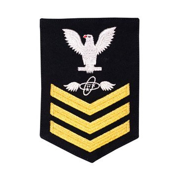 Women's E4-E6 (AT1) Rating Badge in STANDARD Gold on Blue SERGE WOOL for Aviation Electronics Technician