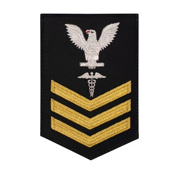 Women's E4-E6 (HM1) Rating Badge in STANDARD Gold on Blue SERGE WOOL for Hospital Corpsman