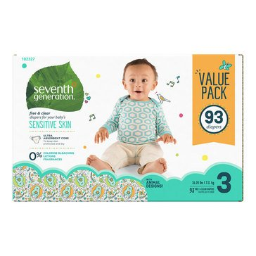 Seventh Generation Baby Diapers - Size 3, 93-Count