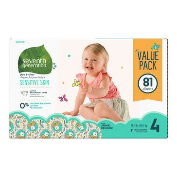 Seventh Generation Baby Diapers - Size 4, 81-Count