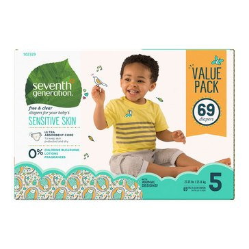 Seventh Generation Baby Diapers - Size 5, 69-Count