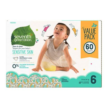 Seventh Generation Baby Diapers - Size 6, 60-Count