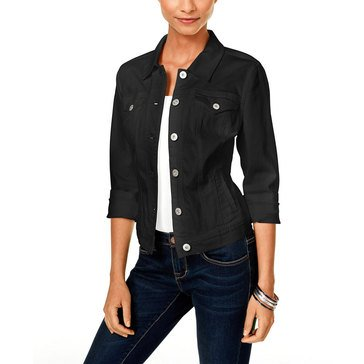 Style & Co Classic Denim Jacket in Black Rinse