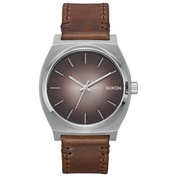 Nixon Men's Time Teller Watch A045-2594, Ombre/ Stainless/ Taupe Leather 37mm