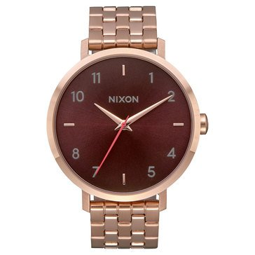 Nixon Women's Arrow Watch A1090-2617, Brown/ All Rose Gold 38mm