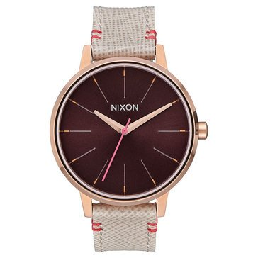 Nixon Women's Kensington Watch A100-1890, Pink/ Rose Gold/ Brown Leather 37mm