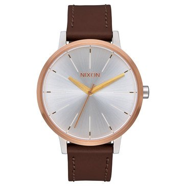 Nixon Women's Kensington Leather Watch A108-2632, Silver/ Gold/ Rose Gold 37mm
