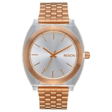 Nixon Women's Time Teller Acetate Watch A327-2628, Clear/ Rose Gold 40mm