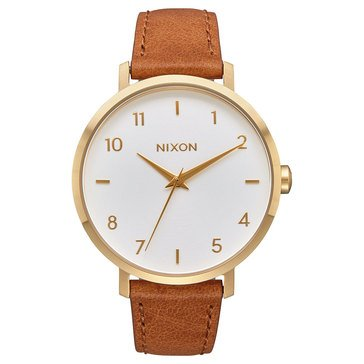 Nixon Women's Arrow Watch A1091-2621, White/ Gold/ Saddle Leather 38mm