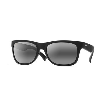 Maui Jim Unisex Kahi Sunglasses With Matte Black Soft Touch Frame Grey Lens 57.5mm