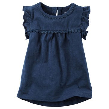 Carter's Toddler Girls' Solid Slub Top, Navy