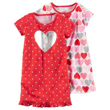 Carter's Little Girls' 2-Pack Heart Print Gown Set