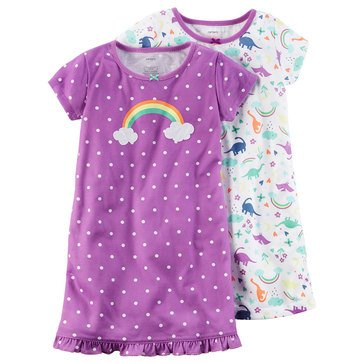 Carter's Little Girls' 2-Pack Rainbow Dino Gown Set