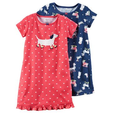 Carter's Little Girls' 2-Pack Dog Print Gown Set