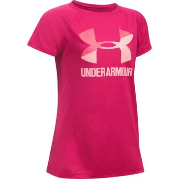 Under Armour Big Girls' Big Logo Solid Tee, Pink