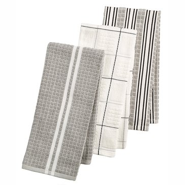 Martha Stewart Collection Set of 3 Terry Kitchen Towels, Grey