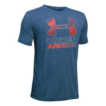Under Armour Big Boys' Big Logo Hybrid 2.0 Tee, Blackout Navy