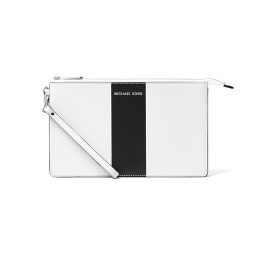 Michael Kors Center Stripe Daniela Large Wristlet Optic White Black