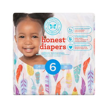 The Honest Company Diapers, Painted Feathers - Size 6, 22-Count
