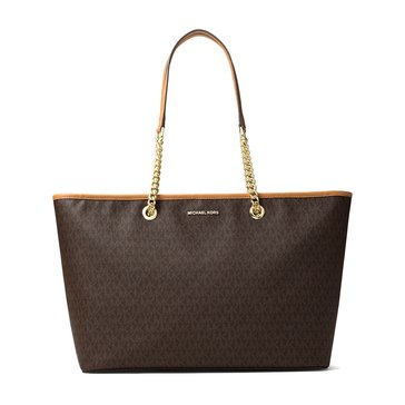 Michael Kors Jet Set Travel Chain Medium Top ZIP Multifunction Tote Brown