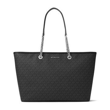 Michael Kors Jet Set Travel Chain Medium Top ZIP Multifunction Tote Black