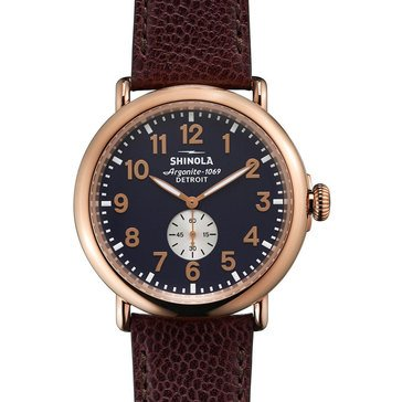 Shinola Men's Runwell with Oxblood Leather Strap Watch, 47mm