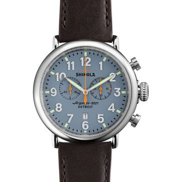 Shinola Men's Runwell Chronograph Deep Brown Leather Strap Watch, 47mm