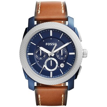 Fossil Men's machine Blue IP With Brown Leather Strap Watch 45mm