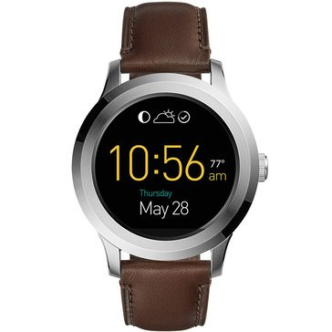 Fossil Men's Q Founder Gen 2 Stainless Steel With Brown Leather Strap Smartwatch, 46mm
