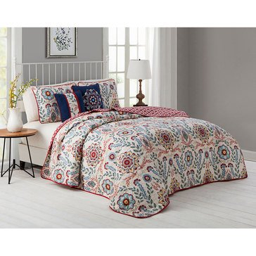 Valena 5-Piece Reversible Quilt - King