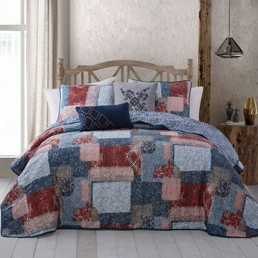 Willa 5-Piece Reversible Quilt, Navy/Red - King