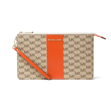 Michael Kors Center Stripe Daniela Wristlet Natural Orange