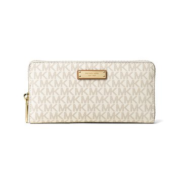 Micahel Kors Jet Set Item Zip Around Continental Wallet Vanilla