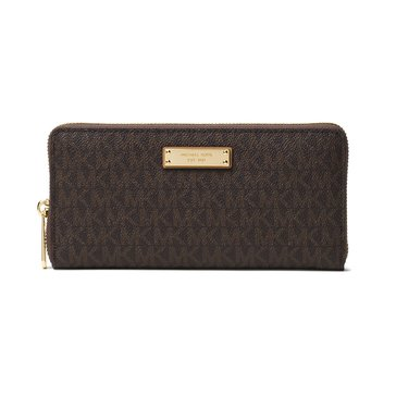 Michael Kors Jet Set Item Zip Around Continental Wallet Brown