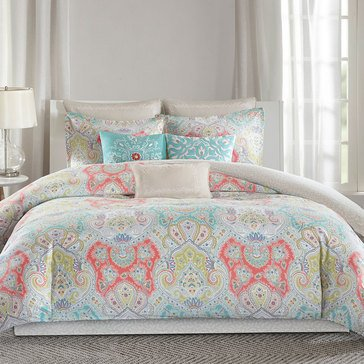Cyprus 4-Piece Comforter Set, Aqua/Red - Queen