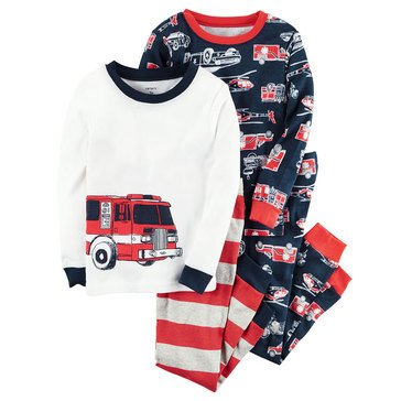Carter's Baby Boys' 4-Piece Cotton Sleepwear Set, Fire Truck