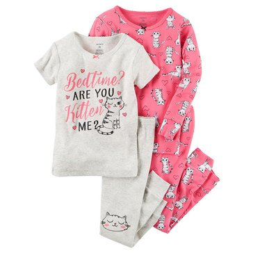 Carter's Baby Girls' 4-Piece Cotton Sleepwear Set, Kitten