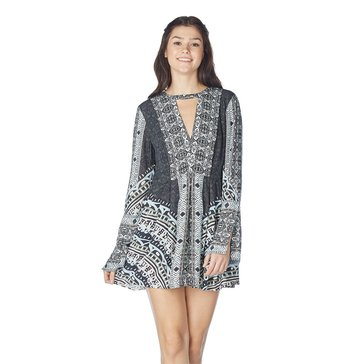 Free People Tegan Border Print Mini Dress with Choker Neck