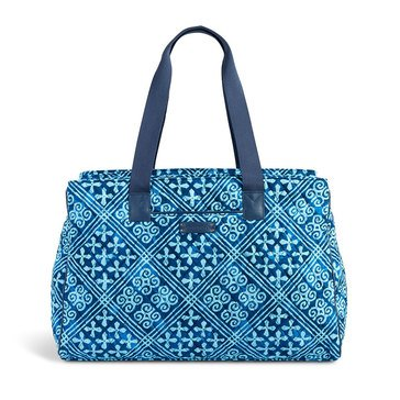Vera Bradley Triple Compartment Travel Bag Cuban Tiles with Navy