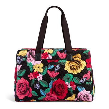 Vera Bradley Triple Compartment Travel Bag Havana Rose with Black