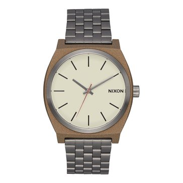 Nixon Unisex Time Teller Watch A045-2091, Gunmetal/ Rose Gold/ Brown Leather 37mm