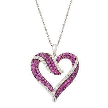 Sterling Silver Created Ruby & Created White Sapphire Heart Pendant
