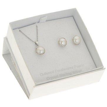 Special Purchase Sterling Silver Freshwater Pearl & Crystal 2 Piece Box Set
