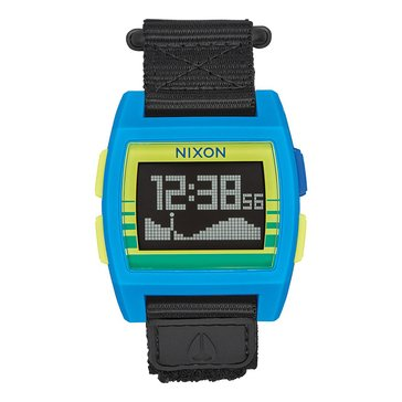 Nixon Unisex Base Tide Blue/Yellow Nylon Watch, 38mm