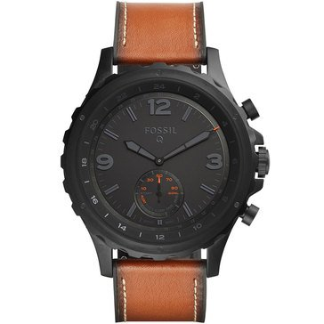 Fossil Q Men's Nate Smart Watch Non Display Black IP Brown Strap 50mm