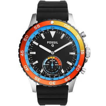 Fossil Q Men's Crewmaster Smart Watch Non Display Stainless Steel Black Silicone 46mm