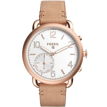 Fossil Women's Q Tailor Hybrid Rose Gold Tone with Light Brown Leather Strap Smart Watch, 40mm
